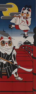 Tenugui Cloth Japanese Lucky Beckoning Cat Fabric Cotton 'Maneki Neko Warrior'