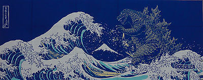Tenugui 'Godzilla & Hokusai's Great Wave on Navy' Cotton Gojira Japanese Fabric