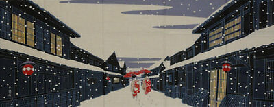 Tenugui Japanese Fabric Cotton 'Maiko-San on a Snowy Gion Evening' Geisha Motif
