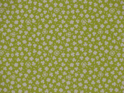 Tenugui Cloth Japanese Cotton Towel Gauze 'Green Clovers' Fabric