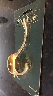 Vintage Style Heavy Solid Brass Double Robe Coat Hat Hook Wall with Screws