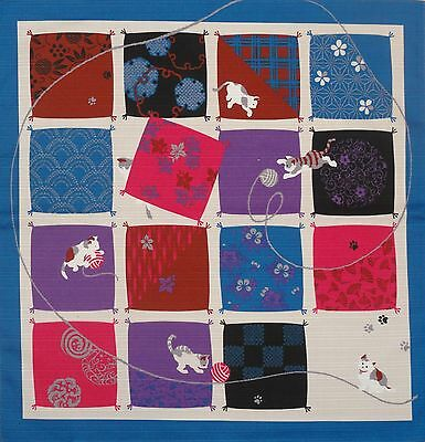 Furoshiki Wrapping Cloth Japanese Cat Fabric Blue 'Playful Cats' Cotton 50cm