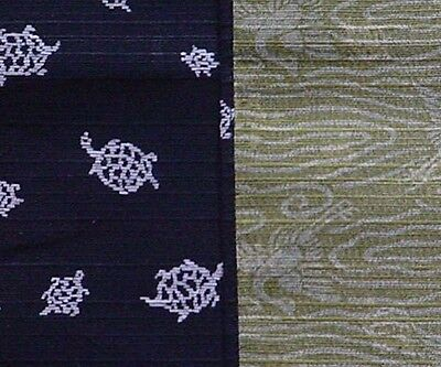 Reversible Furoshiki Wrapping Cloth 'Kuro Kame' Turtle Fabric Cotton 48cm