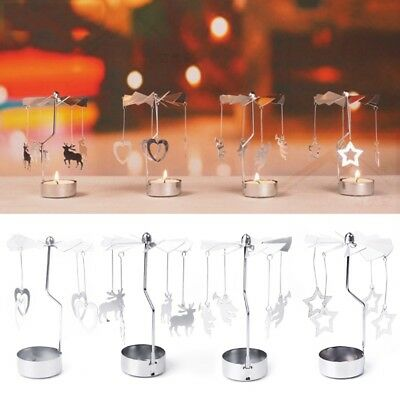 Xmas Rotating Spinning Carrousel Tea Light Candle Holder Center Decor Silver