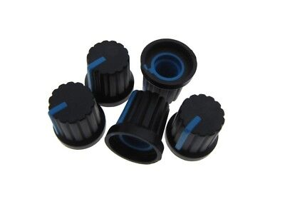 Knob Cap for 6mm Knurled Shaft Potentiometers Pot  - Blue  - Pack of 5
