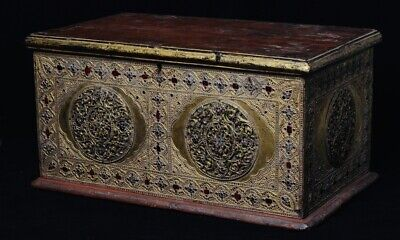19th Century, Antique Burmese Wooden Chest with Gilded Gold and Glass