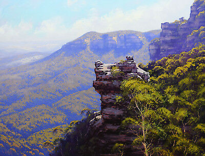 Large Oil Painting Huge Landscape Pulpit Hill Blue Mountains Original by Gercken