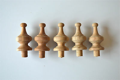 A set of 5 2 1/4 inch antique hardwood turned finial furniture clock F13