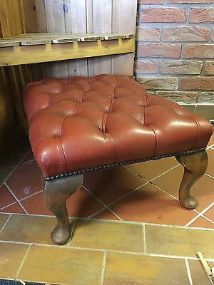 Vintage Leather Chesterfield Queen Ann Footstool
