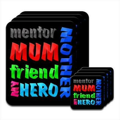 Mother Mum Mentor Friend My Hero Birthday Gift Set Of 4 Placemats Coasters