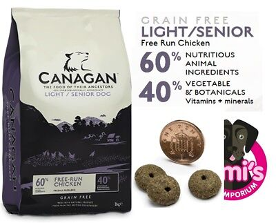 Canagan Natural Adult Grain Free Dog Food. Light/Senior in 2kg 6kg 12kg bags