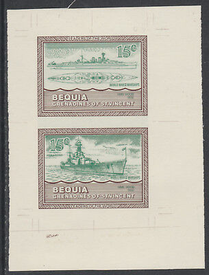 St Vincent  Bequia 5429 - 1985 WARSHIPS of WW2  15c HMS HOOD COLOUR TRIAL PROOF