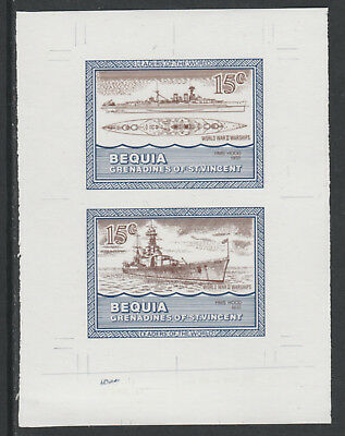 St Vincent  Bequia 5436 - 1985 WARSHIPS of WW2  15c HMS HOOD COLOUR TRIAL PROOF