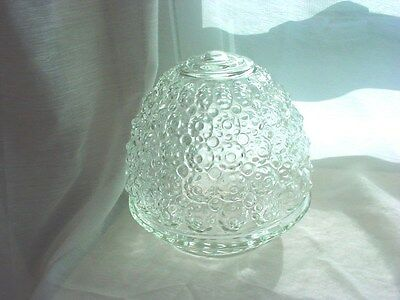 Vtg Glass Light Fixture Globe Midcentury Clear Flower Nubs Acorn Shape 5 inch