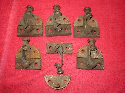6 Antique 1876 Ornate Cast Iron & Brass Window Sash Locks Latches