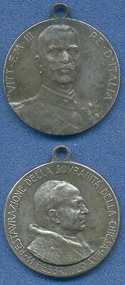 *1929 VATICAN SOVEREIGNTY Restoration VE III Italy King Pope PIO XI Papal Medal