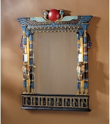 Ancient Egyptian Revival Decorative Wadje Cobra Candle Holders Mirror Home Decor