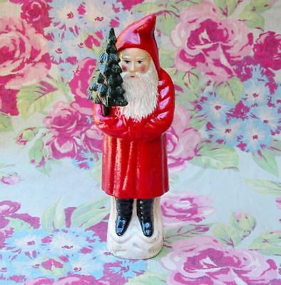 Christmas Cast Iron Santa Claus Belsnickle Bank with Tree 9 inches