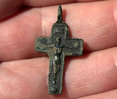 Small Middle Ages Medieval Bronze Crucifix Cross Pendant #1 Found In Latvia