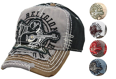True Religion Men's Premium Vintage Distressed Buddha Trucker Hat Cap TR1101