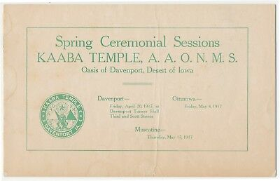 Masonic Kaaba Shriners Temple Davenport Iowa 1917 Spring Ceremonial Sessions
