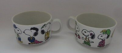2 Vintage Peanuts SNOOPY Mugs Soup Bowls Snoopy in Costumes Free Shipping