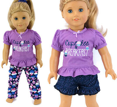 """3 Piece CUPCAKES made for Breakfast Pajamas for 18"""" American Girl Doll Clothes"""