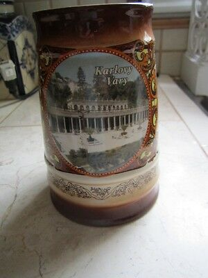 Vintage Karlovy  Vary Decorative Mug Tankard  Made By Loecom?