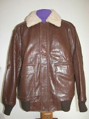 Men's Marc New York-Size Xl-Brown Bomber Leather Jacket