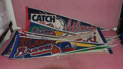 Lot of 10 Vintage Atlanta Braves Felt Banners.
