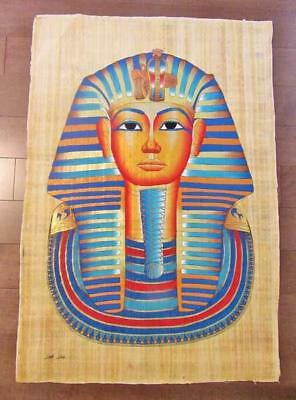 "XXL Signed Handmade Papyrus Egyptian King Tutankhamun Mask Art Painting_38""x26"""