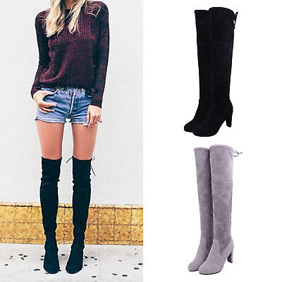 Womens Ladies Warm Suede Over Knee High Boots Lace Up Stretch Long Thigh Boots
