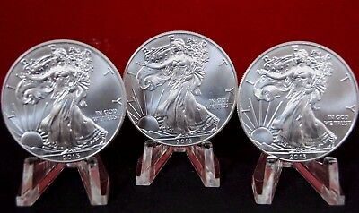 Lot of 3 Silver 2013 American Eagle 1 oz .999 Coins US $1 Dollar BU Uncirculated