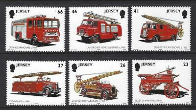 Jersey 2001 Fire Engines Mounted Mint, Mnh