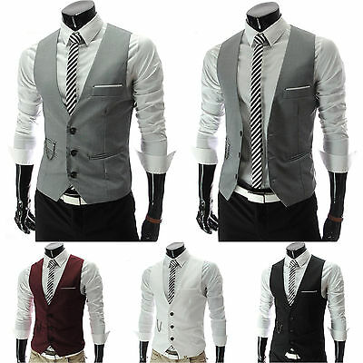Mens Waistcoat Formal Dress Vest Suit Slim Business Tuxedo Smart Chain Coat Tops