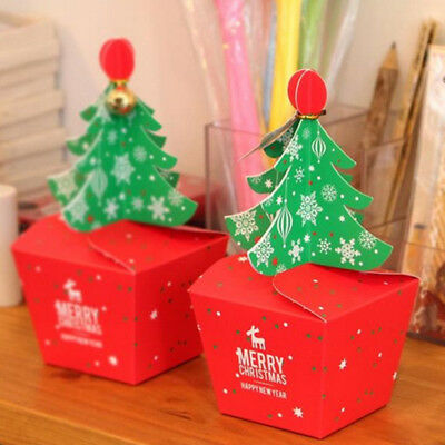 5Pcs Xmas Tree Gift Boxes Christmas Eve Apple Box Sweet Candy Boxes Party Boxes
