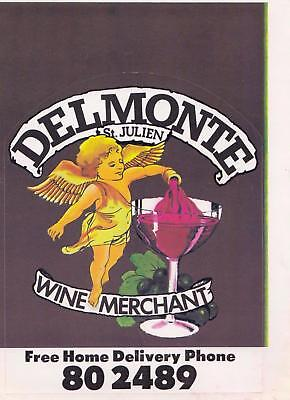Delmonte St. Julien Wine Merchant sticker from the 1980's New Old Stock