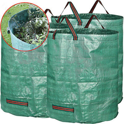 3x Foldable Dust Bin Garden Waste Leaves Buggy Bags Portable Woven Bag Pouch