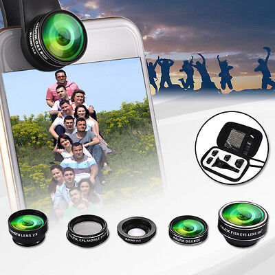 5 in1 Mobile Phone Camera Lens Set Wide Angle Fish Eye Macro Clip Set For iPhone
