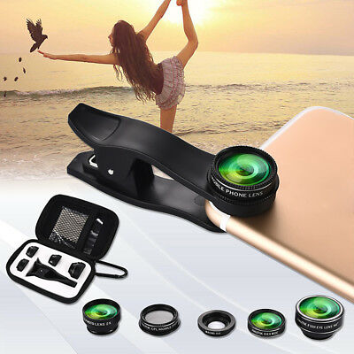 5 in1 Mobile Phone Camera Lens Set Wide Angle Fish Eye Macro Clip Set W/ Case