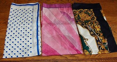 LOT of 3 Vintage Ladies Scarves French TORRENTE Blue Equestrian Square Polkadots
