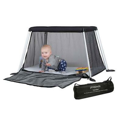 Phil & Teds Traveller v4 Portable Baby Travel Cot with UV Sun Mesh Cover (Black)
