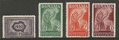 Romania 1930, National Census (4) , S.g 1187-1190, Mlh*