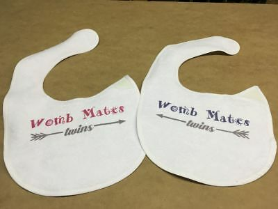 Pair of Bibs - Womb Mates - Twins - Girl Boy - New Baby - Gift Pregnancy