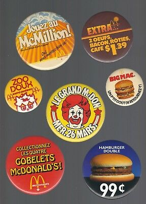 Old McDonald's Restaurant Buttons / Pins (Lot of 7)
