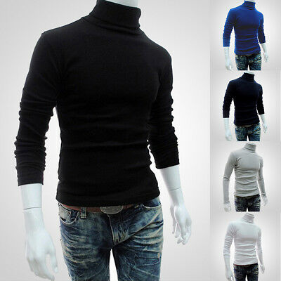 UK Men's Knitted Polo Roll Turtle Neck Pullover Sweater Jumper Tops Casual Slim