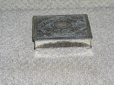 Vintage Silver Plated Trinket Box Decorative Top And Sides