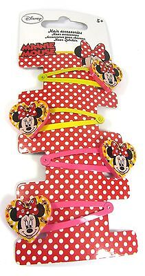 Official Licensed Disney Minnie Mouse Pink Heart Hair Snap Clips Grips Sleepies