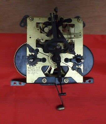Vintage Chiming Mantel Clock Movement with Chime. Repair or Spares. Make Weihai
