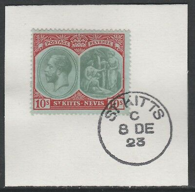 St Kitts 5470 - 1920 KG5 10s on piece with MADAME JOSEPH FORGED POSTMARK
